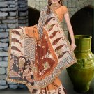 Indian Faux Georgette Wedding Embroidered Saris Sarees With Blouse - HZ 142c N