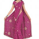 Indian Faux Georgette Wedding Embroidered Saris Sarees With Blouse - HZ 135b N
