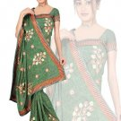 Indian Faux Georgette Wedding Embroidered Saris Sarees With Blouse - HZ 175a N