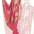 Indian Faux Georgette Wedding Embroidered Saris Sarees With Blouse - HZ 169b N