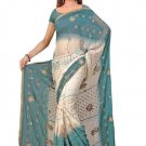 Indian Faux Georgette Wedding Embroidered Saris Sarees With Blouse - HZ 113a N