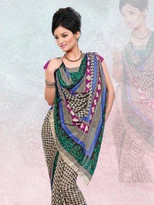 Faux Georgette / Sattin Patti Casual Printed Sari Sarees With Blouse - X 4808b N