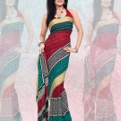 Faux Georgette / Sattin Patti Casual Printed Sari Sarees With Blouse - X 4800a N