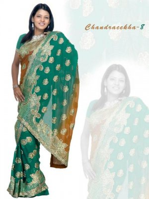 Indian Bollywood Designer Embroidered Saree Sari - X chandralekha8