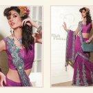 Georgette Net Dark Magenta Heavy Embroidery Saree Sari With Blouse - MD 5012