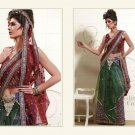 Full Net Brown & Green Heavy Embroidery Lehenga Saree Sari With Blouse - MD 5014