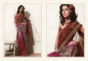 Faux Georgette Maroon Heavy Embroidery Saree Sari With Blouse - MD 5016