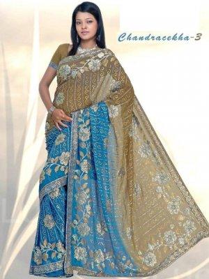Indian Bollywood Designer Embroidered Saree Sari - X chandralekha3