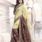 Faux Georgette Wedding Heavy Embroidered Sarees Sari With Blouse - X 2413