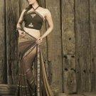 Faux Georgette Fabric Tan Color Designer Embroidered Saree Sari - X 727B