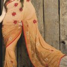 Faux Georgette Fabric Sandy Brown Color Designer Embroidered Saree Sari - X 707B