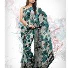 Faux Georgette Fabric Grey & Green Color Designer Printed Saree Sari - Nt 147A