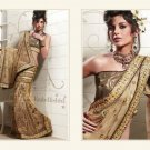 Full Net Deep Tan Bridal Heavy Embroidery Saree Sari With Blouse - MD 5002