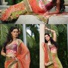Full Net Coral Green Embroidery Lehenga Ghagara Saree Sari With Blouse - X 12302