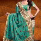 Faux Georgette Wedding Designer Embroidered Saree Sari With Blouse - X 1610