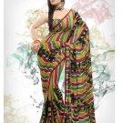 Faux Georgette Fabric Gold & Red Color Designer Printed Saree Sari - Nt 153B