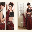 Georgette Net Dark Red Heavy Embroidery Saree Sari With Blouse - MD 5010