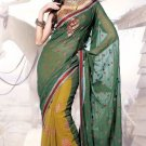 Faux Georgette Wedding Heavy Embroidered Sarees Sari With Blouse - X 2420