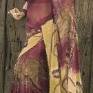 Faux Georgette Fabric Brown Khaki Color Designer Embroidered Saree Sari - X 704A