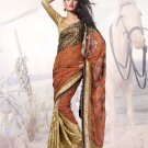 Georgette Brasso Wedding Heavy Embroidered Sarees Sari With Blouse - X 2414