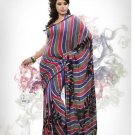 Faux Georgette Fabric Slate Blue Red Color Designer Printed Saree Sari - Nt 153A