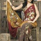 Faux Georgette Fabric Orange Brown Color Designer Embroidered Saree Sari -X 726C
