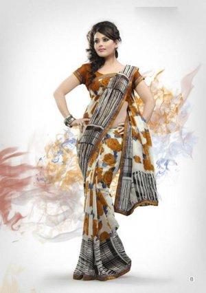 Faux Georgette Fabric Golden RodWhite Color Designer Printed Saree Sari - Nt147B