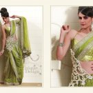Full Net Olive Drab Heavy Embroidery Saree Sari With Blouse - MD 5003