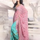 Faux Georgette Wedding Heavy Embroidered Sarees Sari With Blouse - X 2409