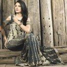 Faux Georgette Fabric White Black Color Designer Embroidered Saree Sari - X 716A