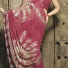 Faux Georgette Fabric Violet Red Color Designer Embroidered Saree Sari - X 708B