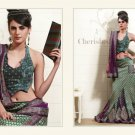 Viscose Net Sea Green Heavy Embroidery Lehenga Saree Sari With Blouse - MD 5007