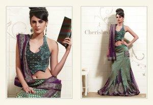 Viscose Net Sea Green Heavy Embroidery Lehenga Saree Sari With Blouse - MD 5007