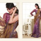 Net Georgette Purple Heavy Embroidery Saree Sari With Blouse - MD 5018