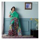 Chiffon Aqua Marine Partywear Printed Saree Sari With Blouse - LPT 1971