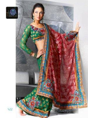 Indian Bollywood Designer Embroidery Saree Sari - 422