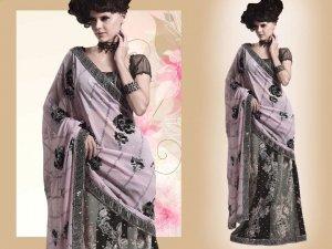 Embroiderd Bridal Wedding Designer Sarees Sari - X2272