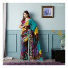Faux Georgette Gold Rod Partywear Printed Saree Sari With Blouse - LPT 1972