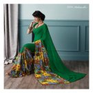 Crape Georgette Green Partywear Printed Saree Sari With Blouse - LPT 2004