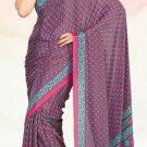 Faux Crape Sarees Sari Designer Printed Casual Fancy Saris - X 825B
