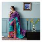 Faux Georgette Deep Blue Partywear Printed Saree Sari With Blouse - LPT 1987