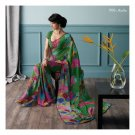 Chiffon Light Green Partywear Printed Saree Sari With Blouse - LPT 1996