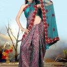 Indian Bollywood Designer Embroiderey Wedding Bridal Saree Sari - CH 1072