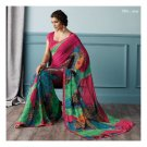 Faux Georgette Red Partywear Printed Saree Sari With Blouse - LPT 1984