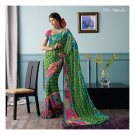 Faux Georgette Green Partywear Printed Saree Sari With Blouse - LPT 1976