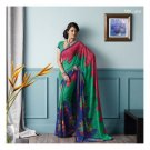 Faux Georgette Red & Green Partywear Printed Saree Sari With Blouse - LPT 1983