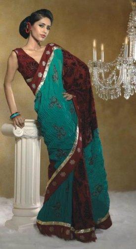 Faux Georgette Wedding Designer Embroiderey Saree Sari With Blouse - X 250 N