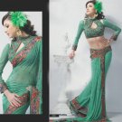 Saree Bridal Faux Georgette Georgeous Embroidery Sari With Unstich Blouse-X808 N