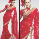 Saree Bridal Faux Georgette Georgeous Embroidery Sari With Unstich Blouse-X814 N