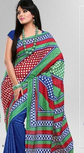 Silk Crepe Casual Partywear Designer Printed Sarees Sari With Blouse - X 4748B N